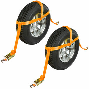 Vehicle Over Wheel Ratchet Strap Tie Down x 2