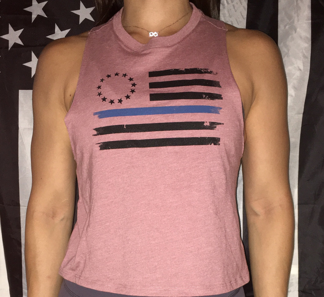 Pretty in Pink Betsy Ross Crop Top