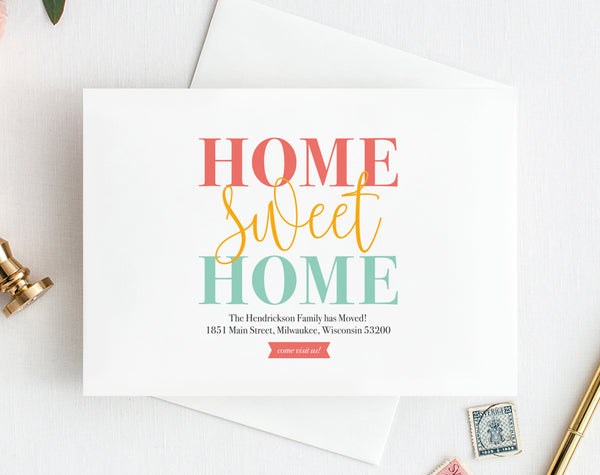 We've Moved, New Home Announcement, New Address, Moving Announcement Printable, Postcard Template, Editable, PDF Instant Download #BPB200_1 - Bliss Paper Boutique