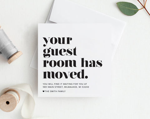 New Home Announcement, Moving Announcement, Your Guest Room Has Moved, Printable, Template, New House, PDF Instant Download #BPB200_6 - Bliss Paper Boutique