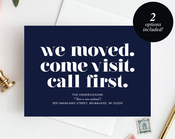 Moving Announcement Printable, We Moved. Come Visit. Call First., New Home Announcement, New Address, PDF Instant Download #BPB200_7B - Bliss Paper Boutique