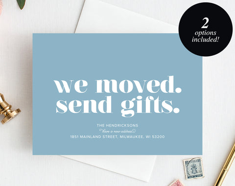 Moving Announcement Printable, We Moved. Send Gifts., New Home Announcement, New Address, PDF Instant Download #BPB200_7C - Bliss Paper Boutique