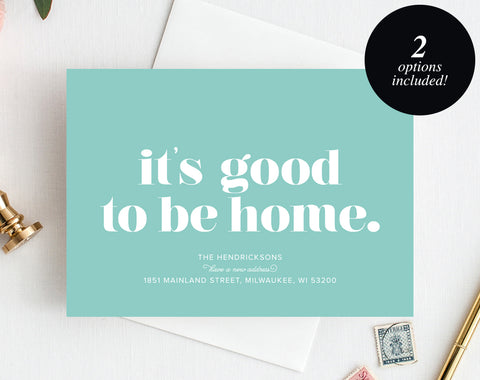 Moving Announcement Printable, It's good to be home New Home Announcement, New Address, Printable, Editable, PDF Instant Download #BPB200_7A - Bliss Paper Boutique