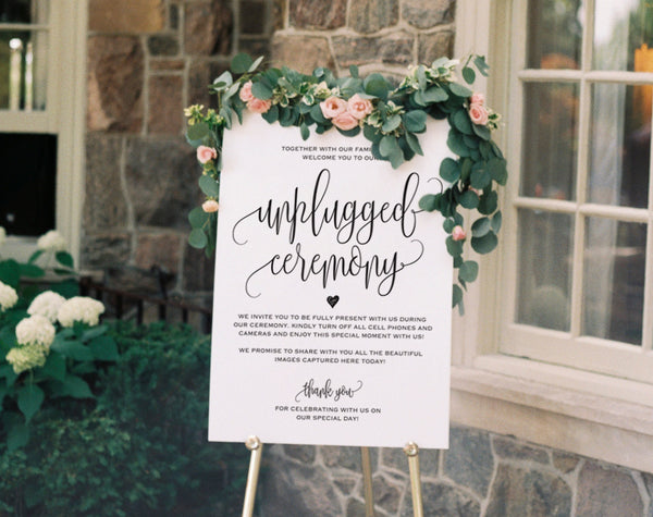 Unplugged Wedding Sign, Unplugged Ceremony Sign, Unplugged Wedding, Unplugged Sign, Wedding Unplugged, PDF Instant Download #BPB203_35 - Bliss Paper Boutique