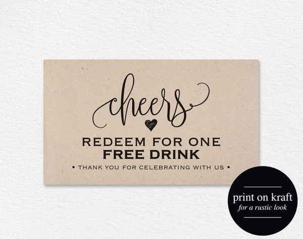 Free Drink Ticket Template Wedding Printable Drink