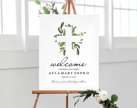 Baptism Welcome Sign, Religious Sign, Christian Sign, Baptism Print, Bliss Paper Boutique, PDF Instant Download #BPB296_4_59 - Bliss Paper Boutique