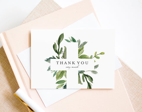 Baptism Thank You Card, First Communion, Confirmation, Thank You Template, Bliss Paper Boutique, PDF Instant Download #BPB296_4_3 - Bliss Paper Boutique