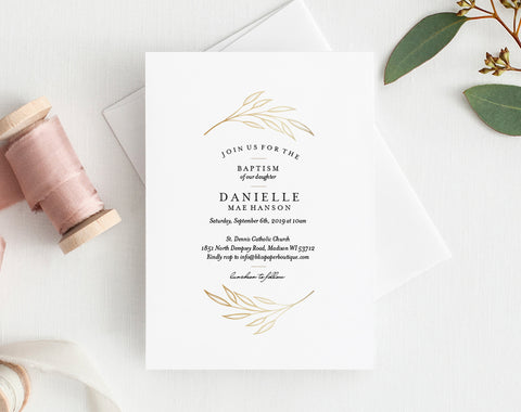 Faux Gold Baptism Invitation, Baptism Invitation Template, Baptism Invitation Printable, PDF Instant Download #BPB296_5 - Bliss Paper Boutique