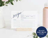 Navy Recipe Card Printable, Recipe Card Bridal Shower, Recipe Card Template, Navy Blue Recipe Card 4x6, PDF Instant Download #BPB320_19 - Bliss Paper Boutique