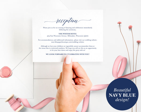 Navy Enclosure Cards, Reception Card, Directions Card, Gift Registry Card, Accommodations Card, Welcome card, PDF Instant Download #BPB320_1_2 - Bliss Paper Boutique