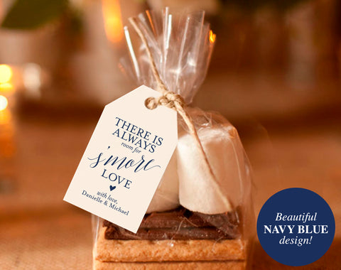 Navy S'more Love Tags, S'more Love Sign, Wedding Printable, Wedding Favor Tags, Wedding Favor Ideas, Tag, PDF Instant Download #BPB320_47