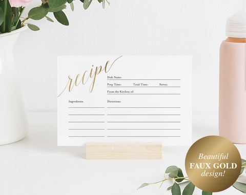 Faux Gold Recipe Card Printable, Recipe Card Bridal Shower, Recipe Card Template, Recipe Card 4x6, PDF Instant Download #BPB324_19 - Bliss Paper Boutique