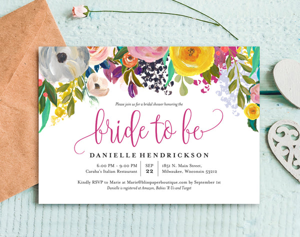Bridal Shower Invitation, Bridal Shower Template, Floral Bridal Shower Invitation, Bridal Shower Printable, PDF Instant Download #BPB327_12 - Bliss Paper Boutique