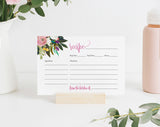 Recipe Card Printable, Recipe Card Bridal Shower, Recipe Card Template, Floral Recipe Card, 4x6, PDF Instant Download #BPB327_19 - Bliss Paper Boutique