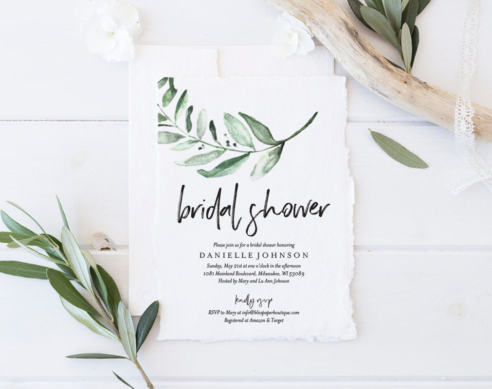 Greenery Bridal Shower Invitation From Bliss Paper Boutique