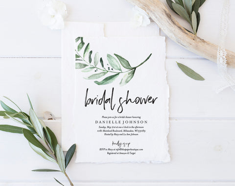 Bridal Shower Invitation, Greenery Bridal Shower Invitation, Bridal Shower Invite, Bliss Paper Boutique, PDF Instant Download #BPB330_12 - Bliss Paper Boutique