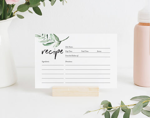 Recipe Card Printable, Recipe Card Bridal Shower, Recipe Card Template, Greenery Recipe Card, 4x6, PDF Instant Download #BPB330_19 - Bliss Paper Boutique