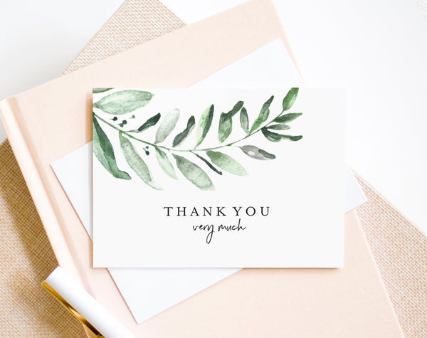 Greenery Thank You Card, Wedding Thank You Template, Folded Thank You, Wedding Printable, Tented, PDF Instant Download #BPB330_27 - Bliss Paper Boutique