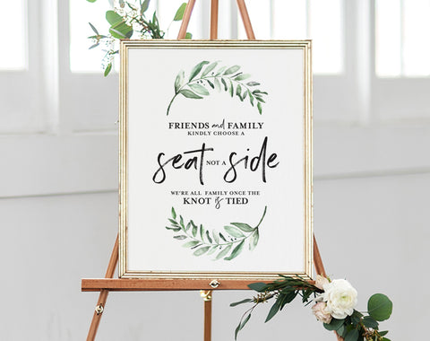 Choose a Seat not a Side Sign, Choose a Seat Sign, Greenery Welcome Wedding Sign, Wedding Sign, PDF Instant Download #BPB330_76 - Bliss Paper Boutique