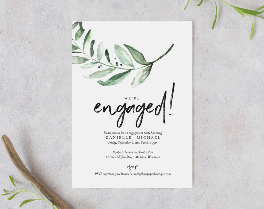 Greenery Engagement Party Invite Template from Bliss Paper Boutique
