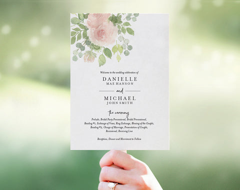 Floral Wedding Program Fan, Wedding Program Template, Fan Template, Template Download, Bliss Paper Boutique, PDF Instant Download #BPB333_3_1 - Bliss Paper Boutique
