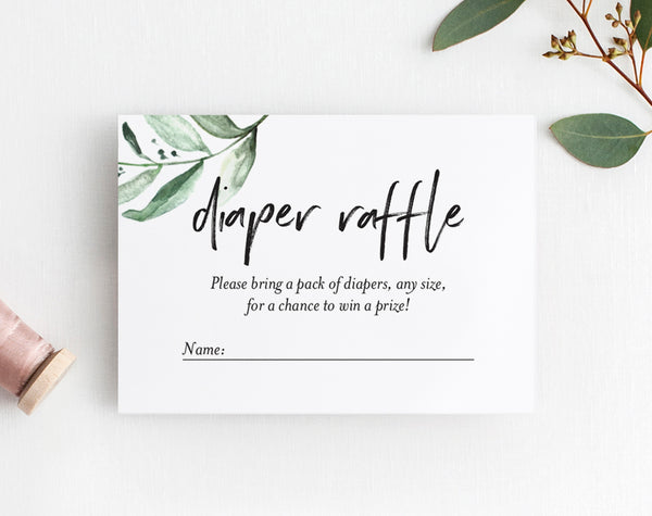 Diaper Raffle Ticket Printable, Diaper Raffle Insert, Raffle Card, Diaper Raffle Floral, Baby Shower, PDF Instant Download #BPB337_2C - Bliss Paper Boutique