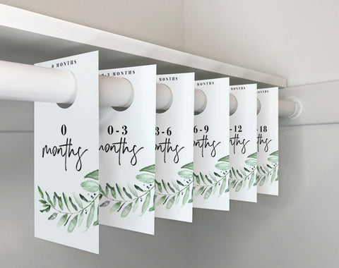 Nursery Closet Dividers, Greenery Baby Closet Dividers, Closet Organizer, Nursery Decor, Floral Nursery, PDF Instant Download #BPB337_7 - Bliss Paper Boutique