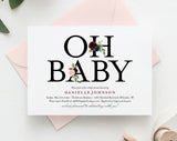 Oh Baby Invitation, Baby Shower Invitation, Baby Shower Invitation Girl, Floral Baby Shower Invitation, PDF Instant Download #BPB338_1 - Bliss Paper Boutique
