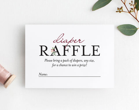 Diaper Raffle Ticket Printable, Diaper Raffle Insert, Raffle Card, Diaper Raffle Floral, Baby Shower, PDF Instant Download #BPB338_2C - Bliss Paper Boutique