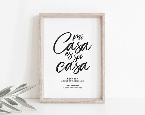 WIFI Password Sign, Wifi Password Printable, Internet Sign, Guest Wifi, Guest Room Sign, Mi Casa Es Su Casa, PDF Instant Download #BPB340_A - Bliss Paper Boutique