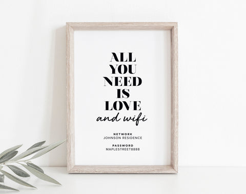 WIFI Password Sign, Wifi Password Printable, Internet Sign, Guest Wifi, All You Need Is Love and Wifi Sign, PDF Instant Download #BPB340_B - Bliss Paper Boutique