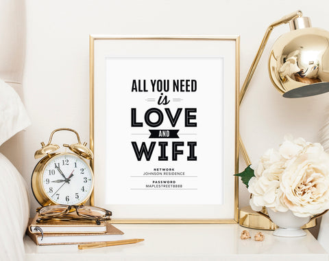 WIFI Password Sign, Wifi password printable, All You Need is Love and Wifi, Guest Wifi, Guest Room Sign, PDF Instant Download #BPB340_D - Bliss Paper Boutique