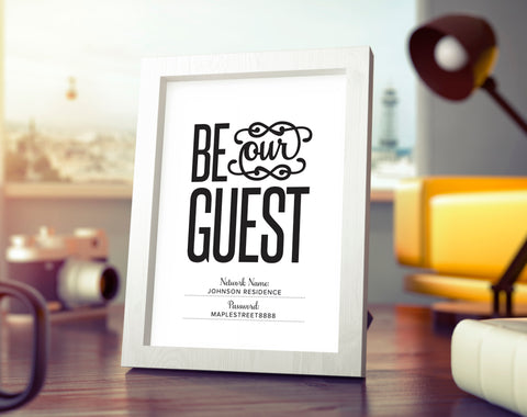 WIFI Password Sign, Be Our Guest Wifi Sign, Wifi Password Printable, Internet sign, Guest Room Sign, PDF Instant Download #BPB340_F - Bliss Paper Boutique