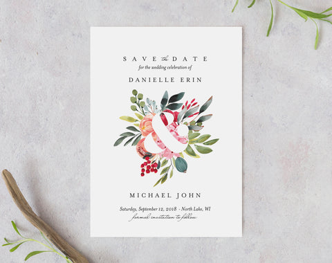 Floral Save the Date Template, Greenery Wedding Save The Date, Wedding Printable, Bliss Paper Boutique, PDF Instant Download #BPB345_2 - Bliss Paper Boutique