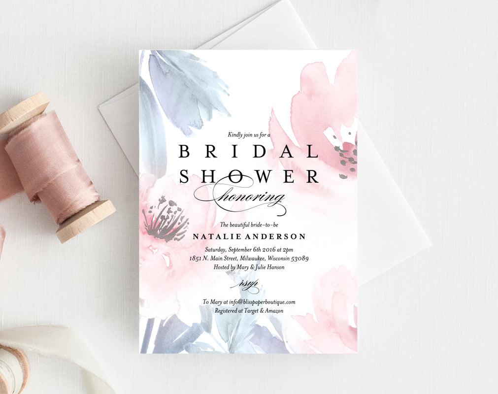 Floral Bridal Shower Invitation From Bliss Paper Boutique