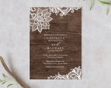 Rustic Wedding Invitation, Wood Invitation, Wedding Invite, Lace Wedding Invitation Set, Wedding Template, PDF Instant Download #BPB348_1 - Bliss Paper Boutique