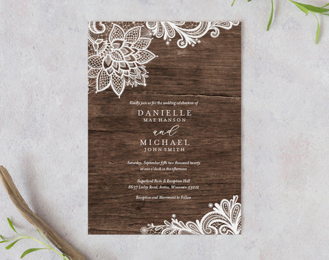Rustic Wedding Invitation, Wood Invitation, Wedding Invite, Lace Wedding Invitation Set, Wedding Template, PDF Instant Download #BPB348_1