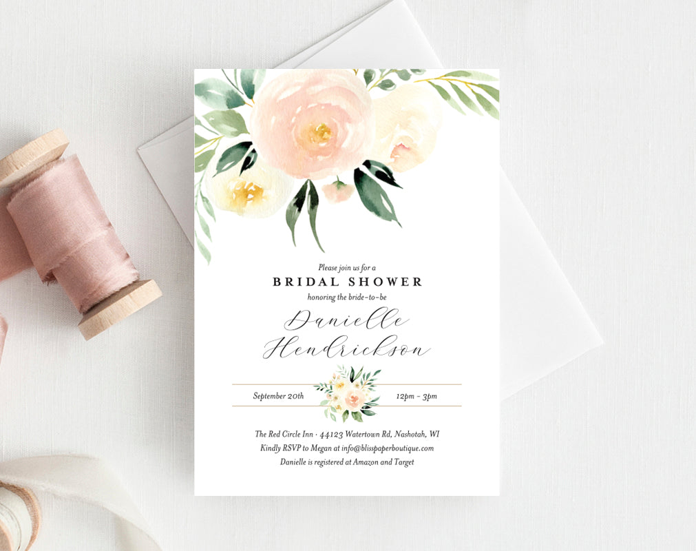 bridal shower invitation template peach floral invitation printable bridal shower invite editable pdf