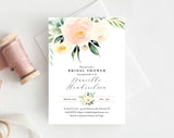 Bridal Shower Invitation template, Peach Floral Invitation Printable, Bridal Shower Invite, Editable PDF, Instant Download #BPB350_12 - Bliss Paper Boutique