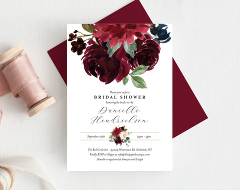 Bridal Shower Invitation template, Red & Burgundy Watercolor Florals, Fall Wedding Shower, DIY, Editable PDF, Instant Download #BPB351_12 - Bliss Paper Boutique