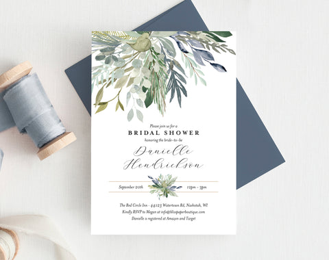 Bridal Shower Invitation template, Greenery Floral Invitation Printable, Blue Green Floral Invite, Editable PDF, Instant Download #BPB352_12 - Bliss Paper Boutique