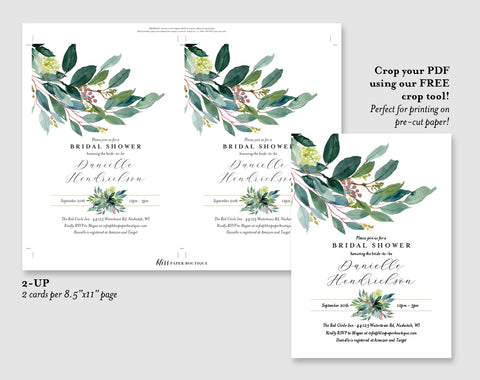 Greenery Bridal Shower Invitation template, Floral Invitation Printable, Invitation Suite, Editable PDF, Instant Download #BPB353_12 - Bliss Paper Boutique