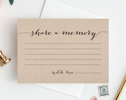 Share a Memory Card, Memory Cards, Share a Memory Printable, Memorial Card, Keepsake, Funeral Memory Card, PDF Instant Download, #BPB84_1 - Bliss Paper Boutique