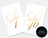Wedding Table Numbers, Gold Table Numbers, Script Table Numbers, 4x6, 5x7, Table Numbers Printable Template, PDF Instant Download #BPB86 - Bliss Paper Boutique