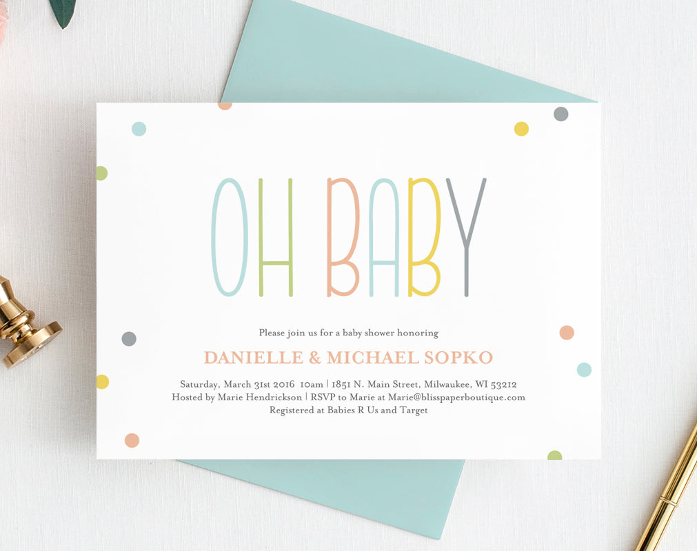 graphic regarding Printable Baby Shower Invites known as Little one Shower Invitation, Gender Impartial Oh Kid Shower Invitation, Boy or girl Shower Printable, Kid Shower Template, PDF Quick Down load #BPB93_1