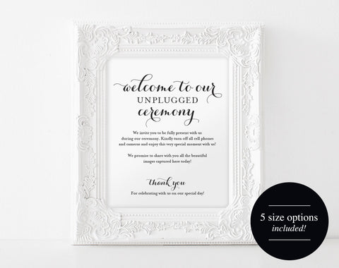 Unplugged Wedding Sign, Unplugged Ceremony Sign, Wedding Sign, Wedding Printable, Unplugged Sign, PDF Instant Download #BPB133_35 - Bliss Paper Boutique