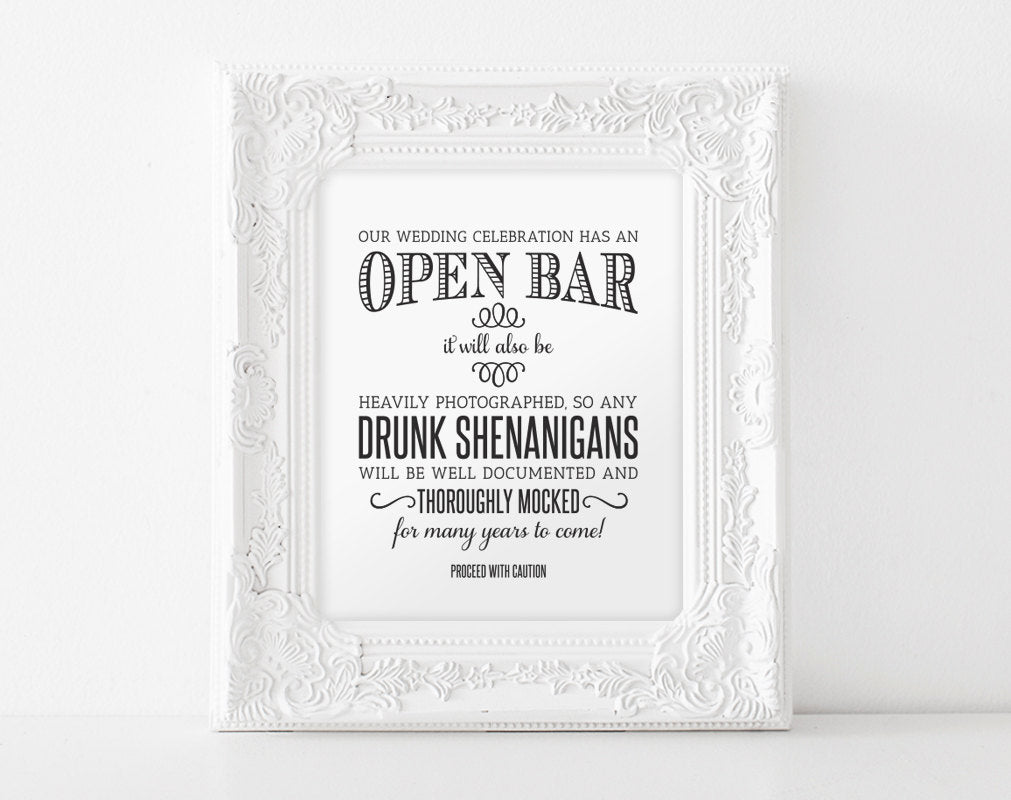 photo relating to Wedding Sign Printable named Open up Bar Marriage ceremony Indication, Printable Marriage ceremony Signal, Shenanigans Signal, Humorous Wedding day Indicator, Quick Down load, 8x10, PDF Fast Down load #BPB152_65