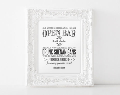 Open Bar Wedding Sign, Printable Wedding Sign, Shenanigans Sign, Funny Wedding Sign, Instant Download, 8x10, PDF Instant Download #BPB152_65 - Bliss Paper Boutique