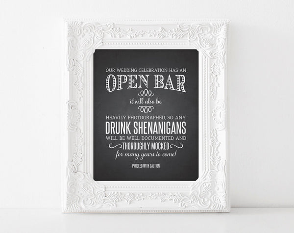 Open Bar Wedding Sign, Chalkboard Sign, Printable Wedding Sign, Shenanigans Sign, Funny Wedding Sign, Instant Download, 8x10, PDF #BPB153 - Bliss Paper Boutique