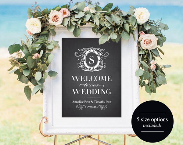 Welcome Wedding Sign Printable, Chalkboard Wedding Sign, Wedding Sign, Welcome Sign Template, Custom, PDF Instant Download #BPB308 - Bliss Paper Boutique